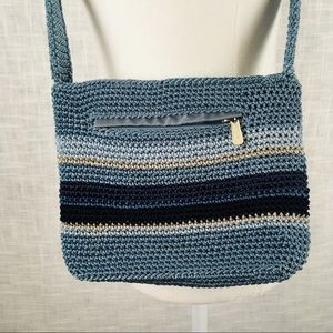 The Sak blue striped crochet shoulder bag